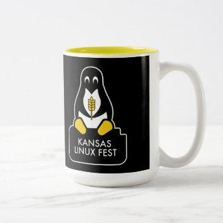 Negro de la taza del Fest de Kansas Linux