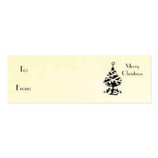 Negro de las Felices Navidad, del árbol de navidad Tarjetas De Visita Mini