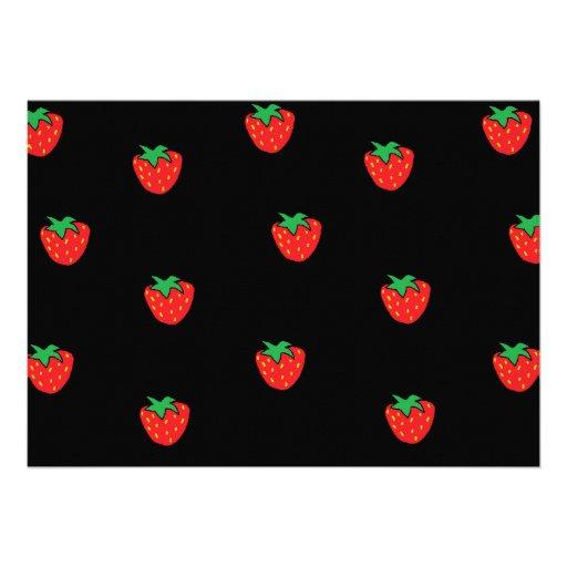 Negro de las fresas invitaciones personales