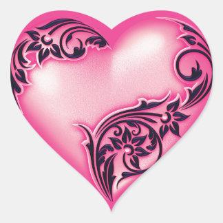 Negro de las rosas fuertes w de la luz de la pegatina en forma de corazón
