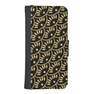Negro de las señoras y conchas de peregrino de fundas cartera para teléfono
