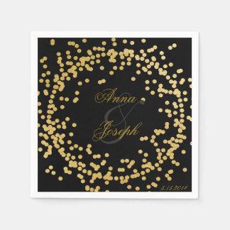 Negro de las servilletas del confeti del oro servilleta desechable