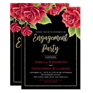 Negro de los rosas rojos y fiesta de compromiso invitación 12,7 x 17,8 cm