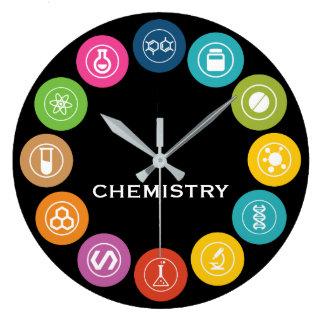 Negro de los símbolos del profesor de la química reloj redondo grande