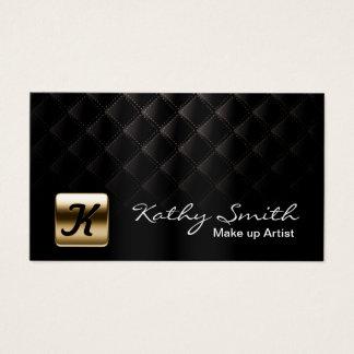 Negro de lujo y oro del artista de maquillaje tarjeta de negocios