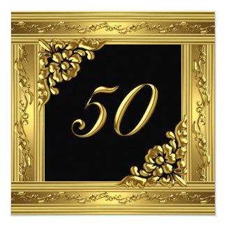 Negro de oro 50 del 50.o de cumpleaños oro invitación 13,3 cm x 13,3cm