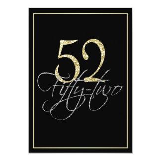 Negro de plata formal y 52.a fiesta de cumpleaños invitación 12,7 x 17,8 cm