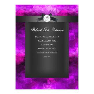 Negro de plata magenta de la cena de lazo negro invitación 16,5 x 22,2 cm