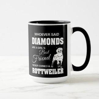 Negro de Rottweiler de los diamantes taza