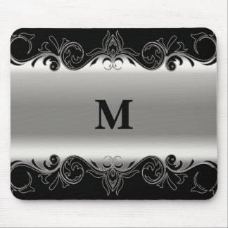 Negro de Swirly del monograma y diseño de la plata Alfombrilla De Ratón