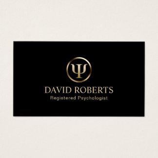 Negro del consejero del psicólogo y cita del oro tarjeta de visita