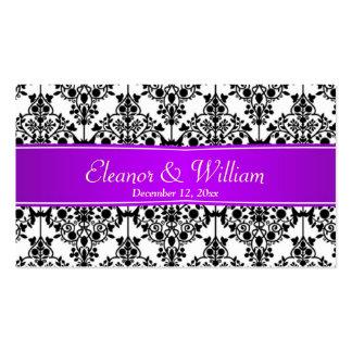 Negro del damasco, blanco, etiqueta púrpura del fa plantillas de tarjeta de negocio
