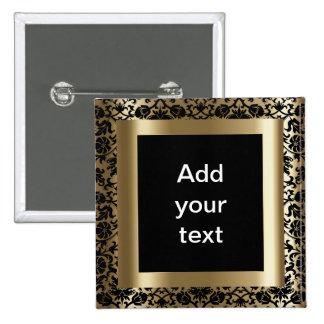 Negro del damasco y texto del oro el   DIY Chapa Cuadrada