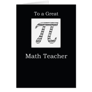 Negro del día del profesor de matemáticas pi tarjeta de felicitación