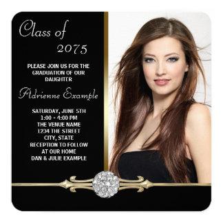 Negro del diamante y graduación del encanto del invitación 13,3 cm x 13,3cm