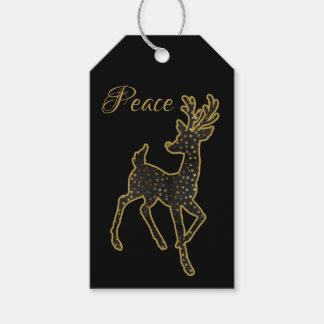 Negro del diseño del reno y etiqueta del regalo de