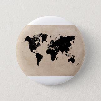 negro del mapa del mundo chapa redonda de 5 cm