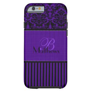 Negro del monograma, caja púrpura del iPhone 6 de Funda Para iPhone 6 Tough