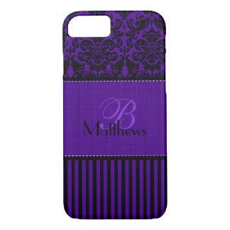 Negro del monograma, caja púrpura del iPhone 7 de Funda iPhone 7