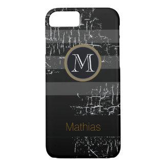 negro del monograma rayado funda iPhone 7