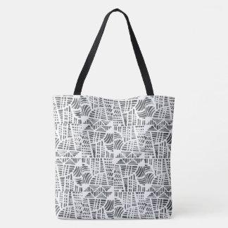 Negro del mosaico bolsa de tela