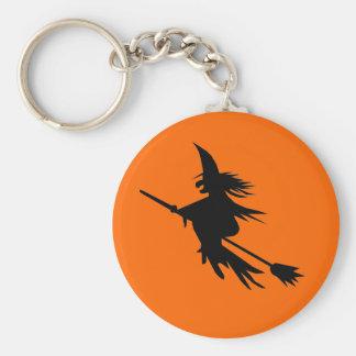 Negro del naranja de la silueta el | Halloween de Llavero Redondo Tipo Chapa
