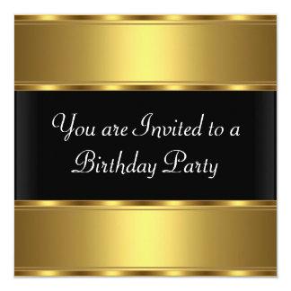 Negro del oro de la invitación de la fiesta de