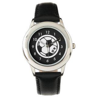 Negro del reloj del fútbol del monograma del niño