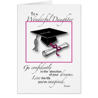 Negro del rosa de la graduación de la hija tarjeta de felicitación