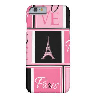 Negro del rosa del amor de la torre Eiffel de Funda De iPhone 6 Barely There