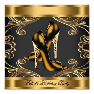 Negro del tacón alto y fiesta de cumpleaños invitación 13,3 cm x 13,3cm