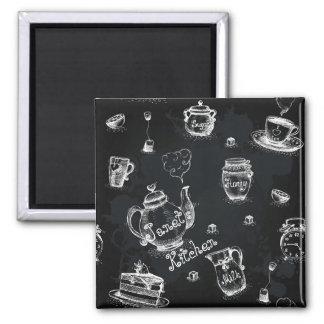 Negro del tiempo del té imanes para frigoríficos
