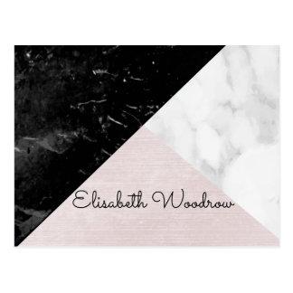 Negro del trío, geométrico de seda rosado de postal