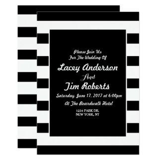 Negro del vintage una invitación blanca del boda