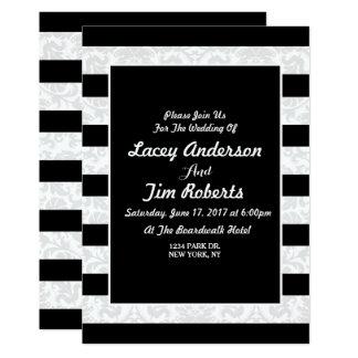 Negro del vintage una invitación floral del boda