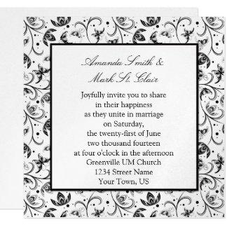 Negro e invitación floral del boda de la plata