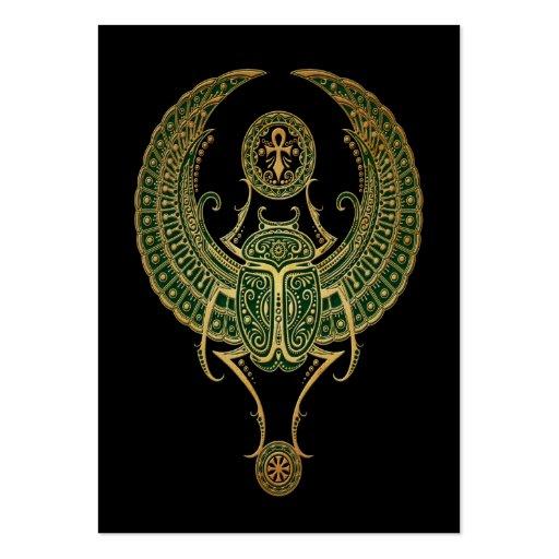 Negro egipcio con alas verde del escarabajo del tarjetas de negocios
