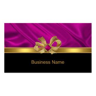 Negro elegante del borde rosado del arco del oro tarjetas de visita