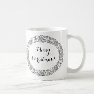 Negro elegante en la guirnalda del navidad blanco taza de café