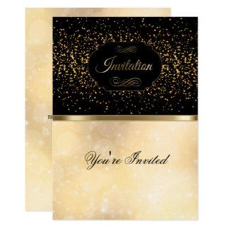 Negro elegante, oro e invitación de Bokeh