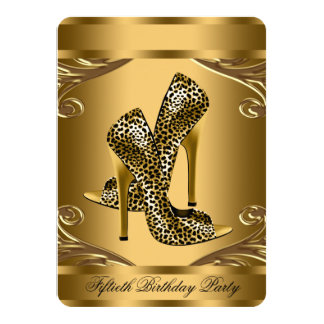 Negro elegante y 50.a fiesta de cumpleaños del oro invitación 11,4 x 15,8 cm