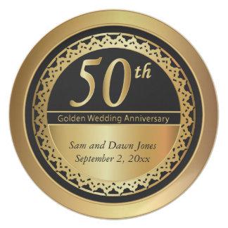 Negro elegante y aniversario de oro del oro 50.o plato