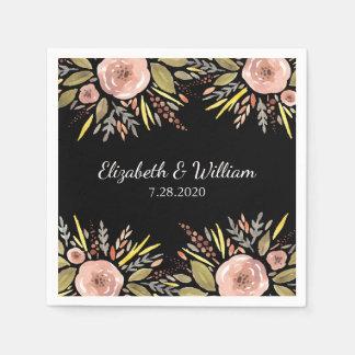 Negro elegante y boda floral de la acuarela color servilletas de papel
