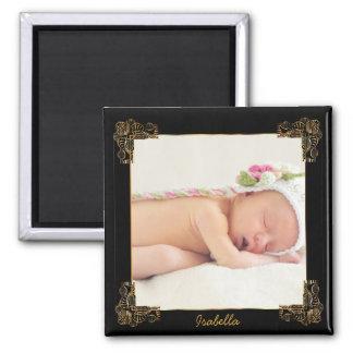 Negro elegante y marco adornado de la foto del oro imanes