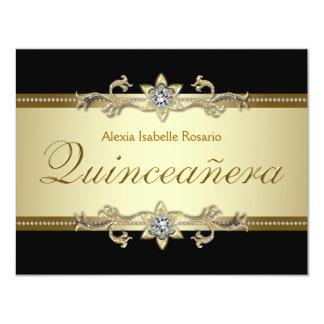 Negro elegante y oro Quinceanera Invitación 10,8 X 13,9 Cm