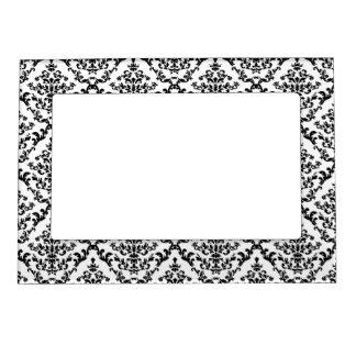 Negro en el damasco blanco marcos magnéticos de fotos