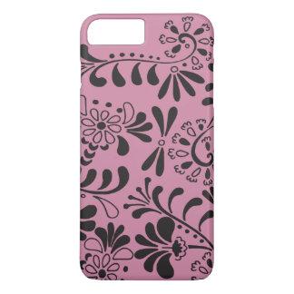 Negro en las flores abstractas rosadas funda iPhone 7 plus