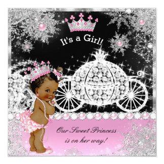 Negro étnico del rosa del carro de la princesa invitación 13,3 cm x 13,3cm