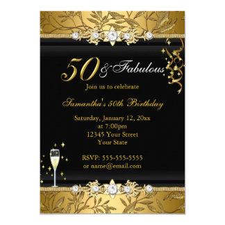 Negro fabuloso del cumpleaños de la hoja 50 de la invitación 12,7 x 17,8 cm
