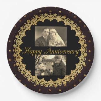 Negro feliz del aniversario y placa personalizada plato de papel